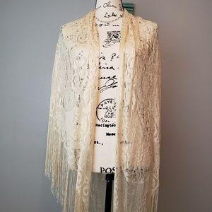 Accessories - Ivory Lace Crochet Fringed Shawl Boho Festival OS